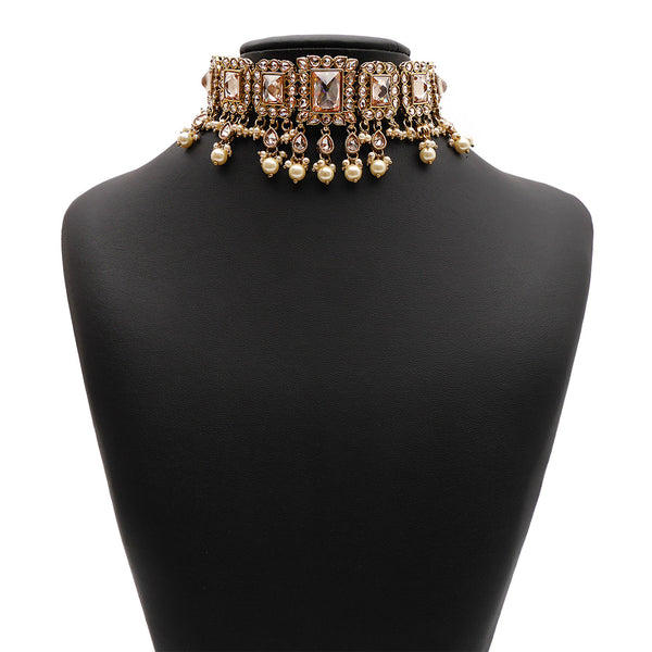 Yashvi Bridal Necklace Set in Pearl and Antique Gold