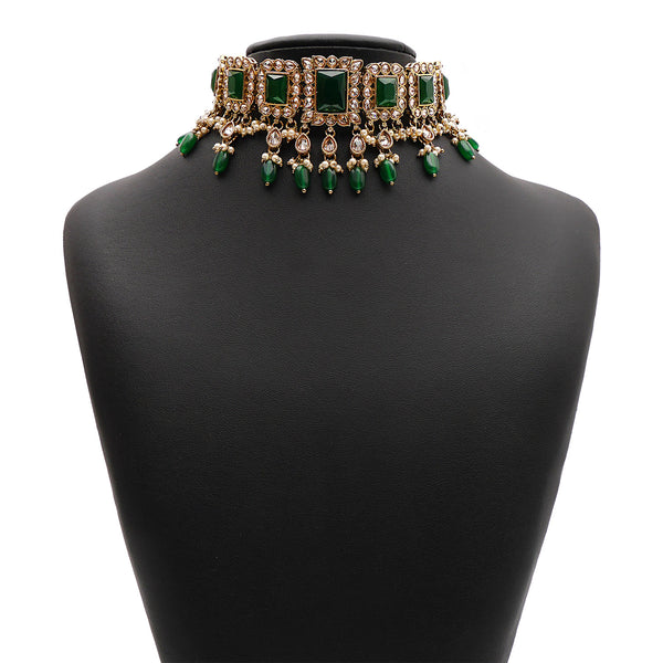 Yashvi Bridal Necklace Set in Emerald Green