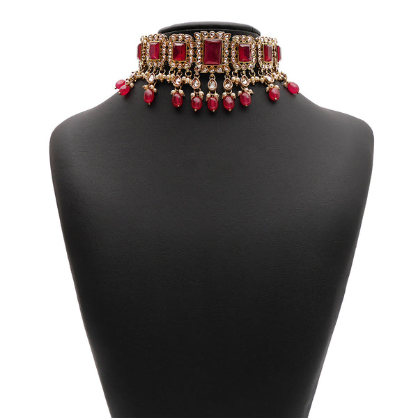 Yashvi Bridal Necklace Set in Ruby