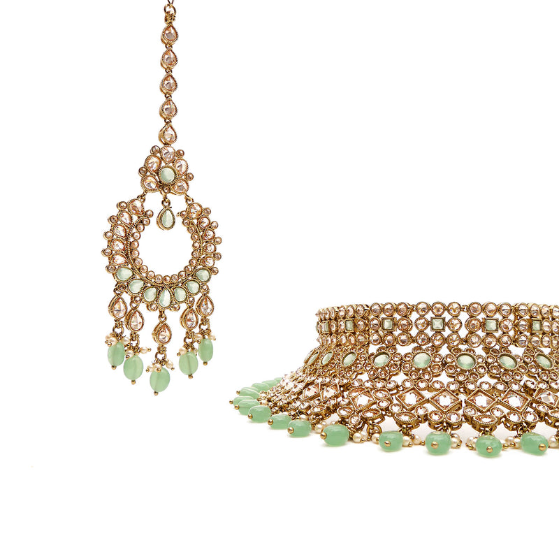 Nyra Bridal Necklace Set in Mint