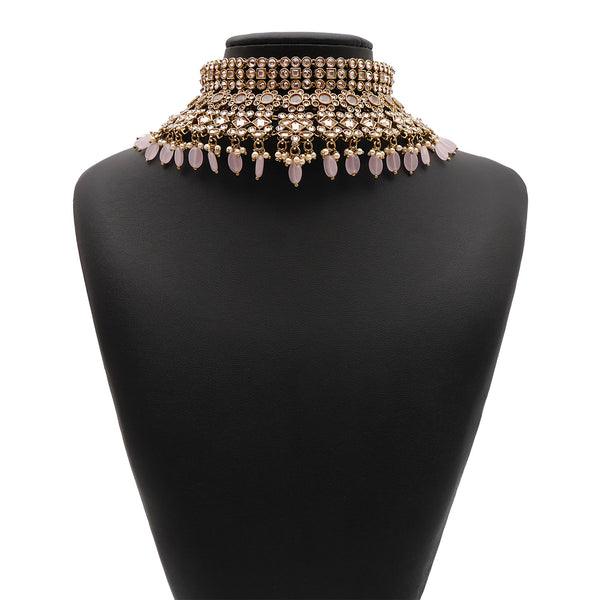 Nyra Bridal Necklace Set in Light Pink