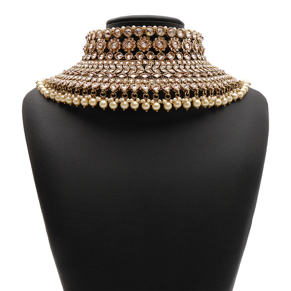 Padmini Bridal Necklace Set in Pearl and Antique Gold