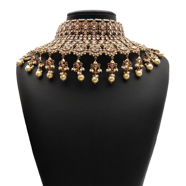 Jodha Bridal Necklace Set in Pearl and Antique Gold