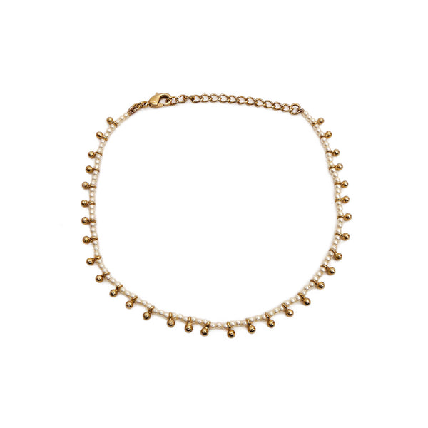 Clara Anklet in Pearl and Antique Gold