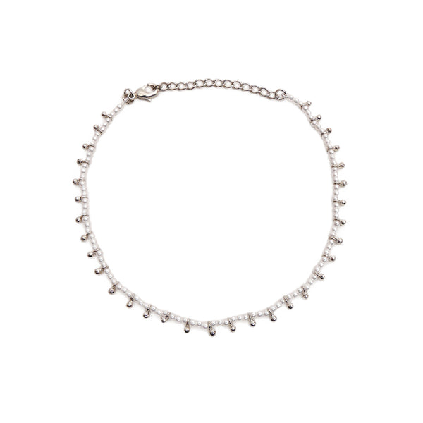Clara Anklet in Pearl and Rhodium