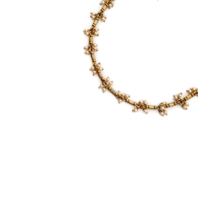 Kalki Anklet in Pearl and Antique Gold