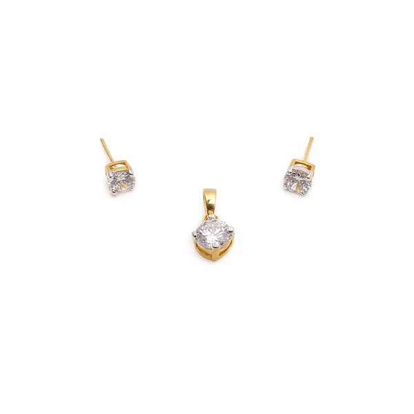 Audrey Cubic Zirconia Pendant Set in Gold