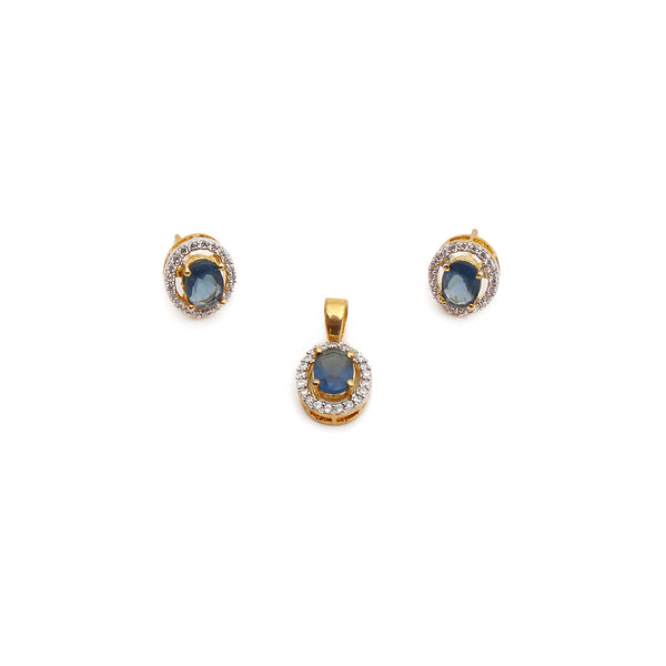 Lola Cubic Zirconia Pendant Set in Navy