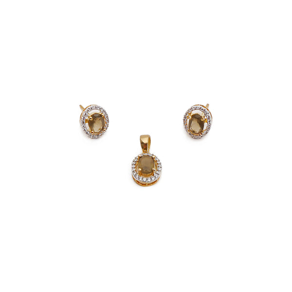 Lola Cubic Zirconia Pendant Set in Brown