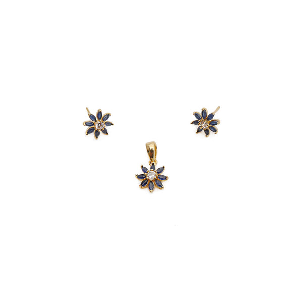 Alessia Cubic Zirconia Pendant Set in Navy