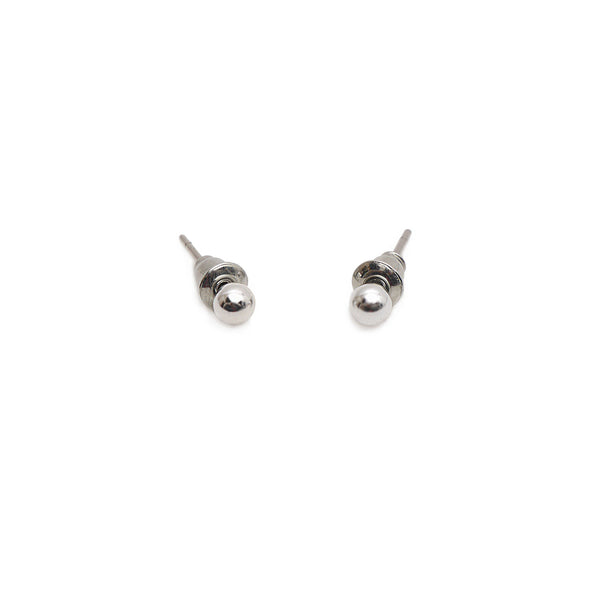 Eden Pearl Studs in Rhodium