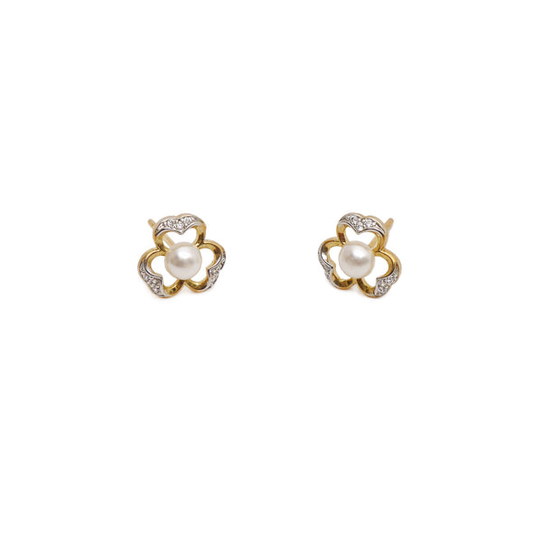 Amerie Cubic Zirconia Studs in Pearl and Gold