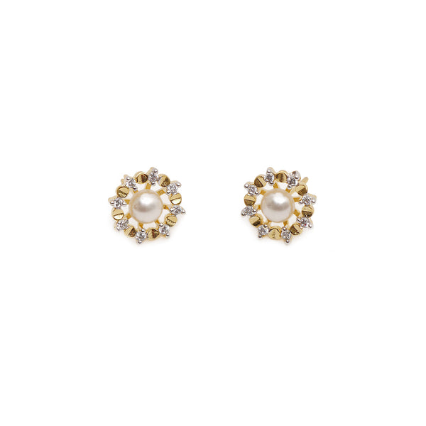 Anna Cubic Zirconia Studs in Pearl and Gold