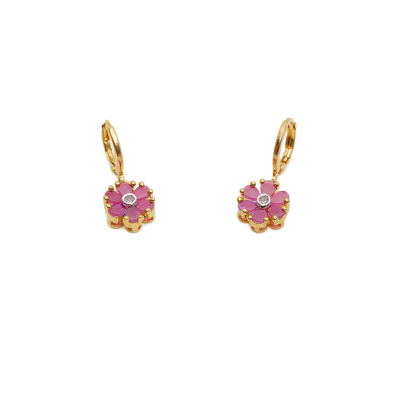 Bell Flower Cubic Zirconia Earrings in Ruby