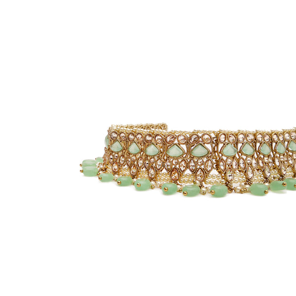 Evani Choker Set in Mint and Antique Gold
