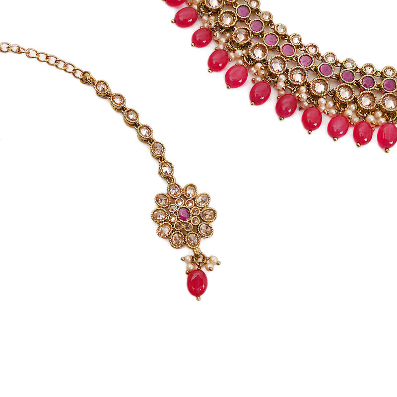 Saniya Necklace Set in Ruby