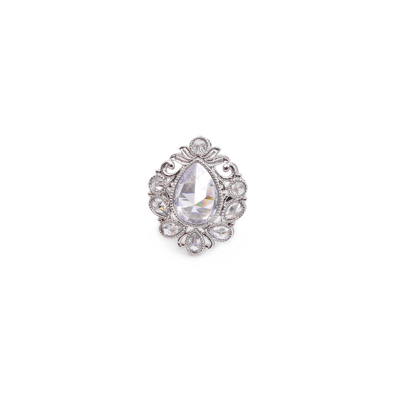 Rhodium Teardrop Ring