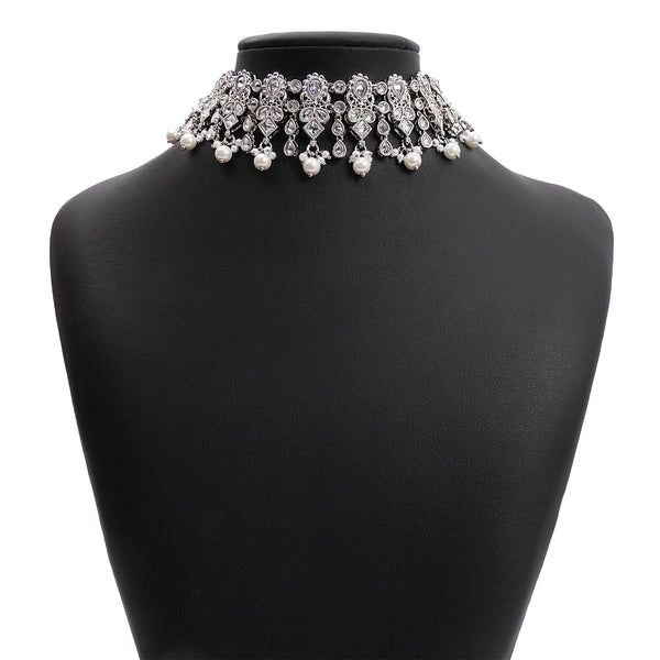 Adira Choker Set in Pearl and Rhodium
