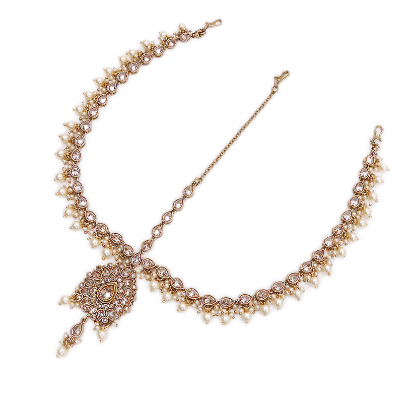 Pearl Teardrop Headpiece in Antique Gold