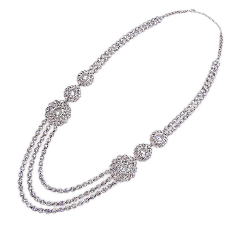 Emani Long Necklace in Rhodium