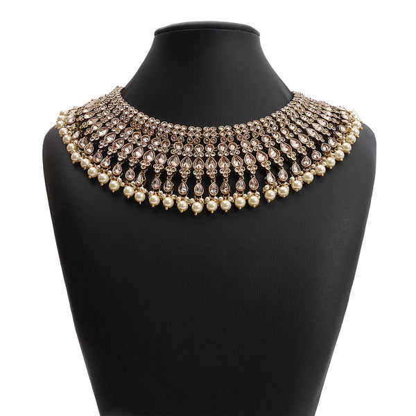 Samira Bridal Necklace Set in Pearl and Antique Gold