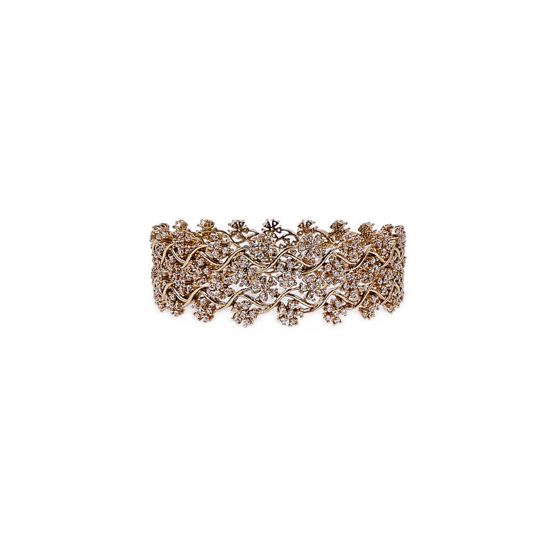 Mahla Cubic Zirconia Bangles in Antique Gold