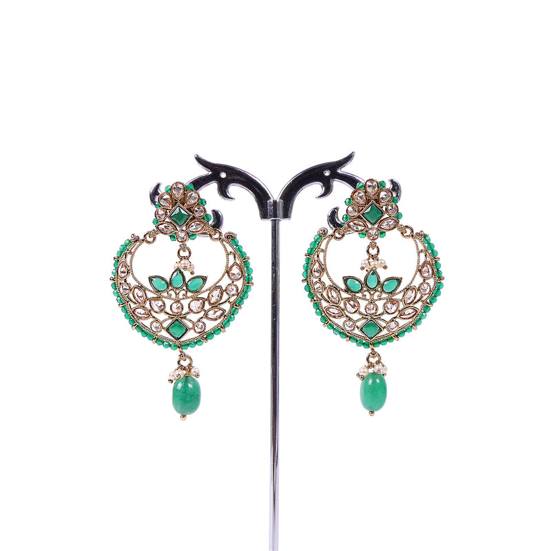 CHANDBALI EARRINGS IN GREEN