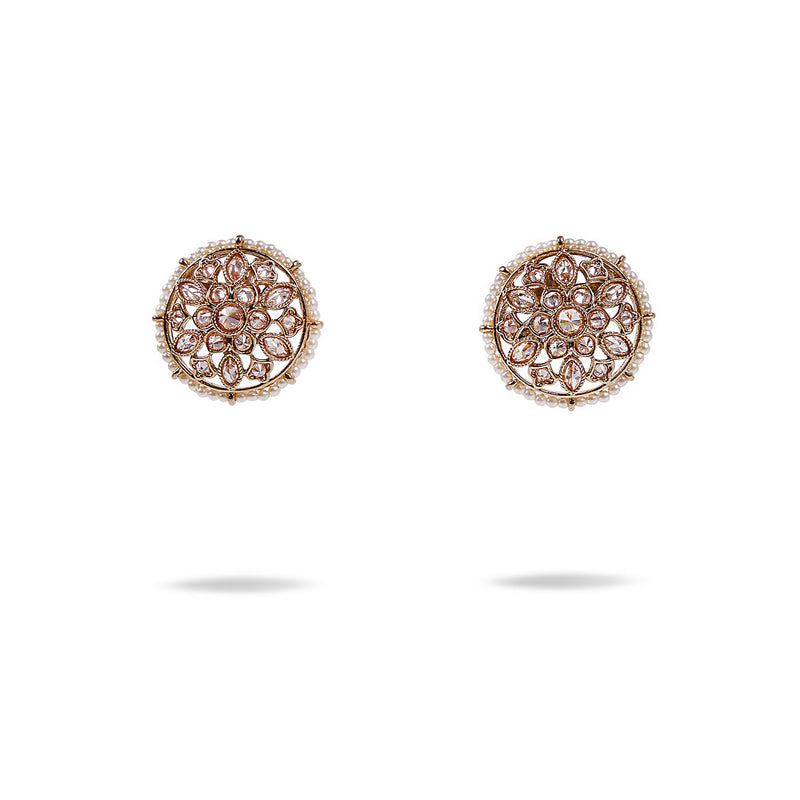 Madiha Studs in Pearl and Antique Gold