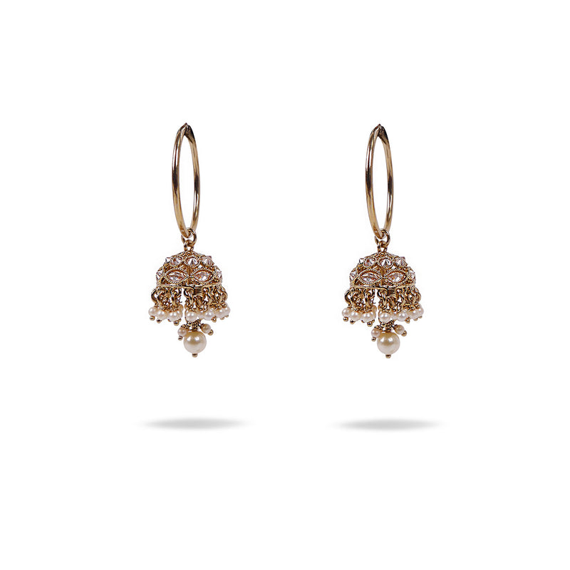 Nirali Earrings in Pearl and Antique Gold