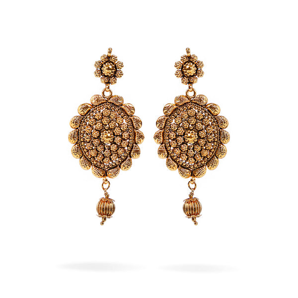 Naira Long Earrings in Antique Gold