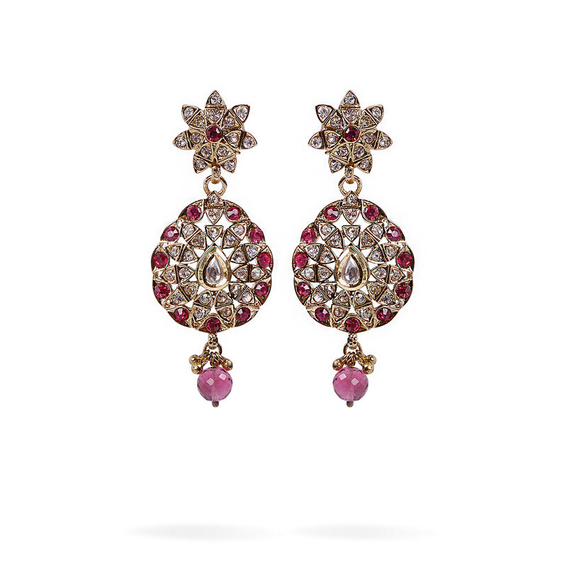 Diksha Long Earrings in Pink