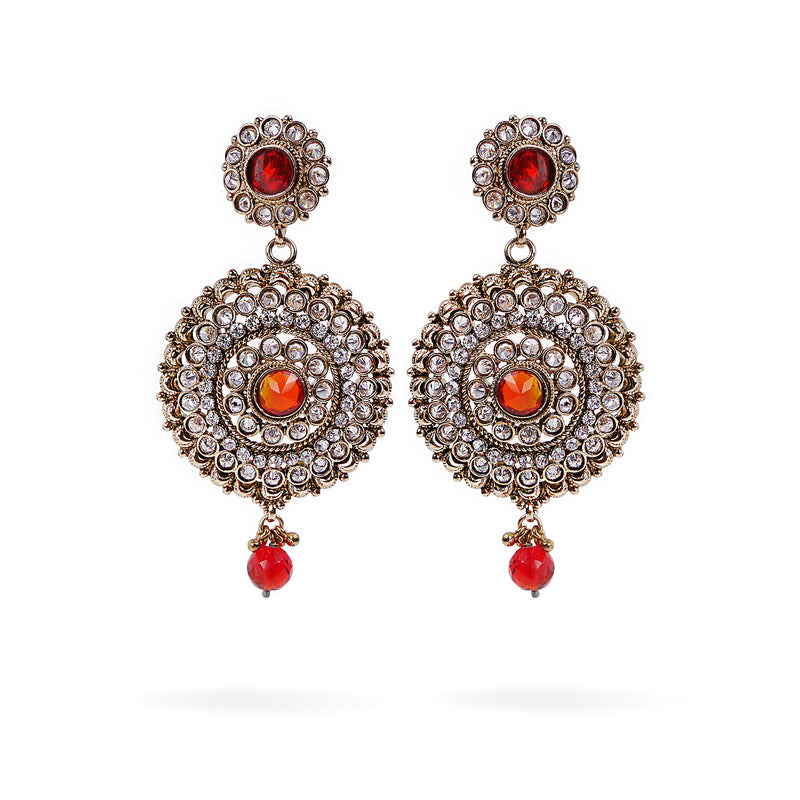 Round Long Earrings in Red