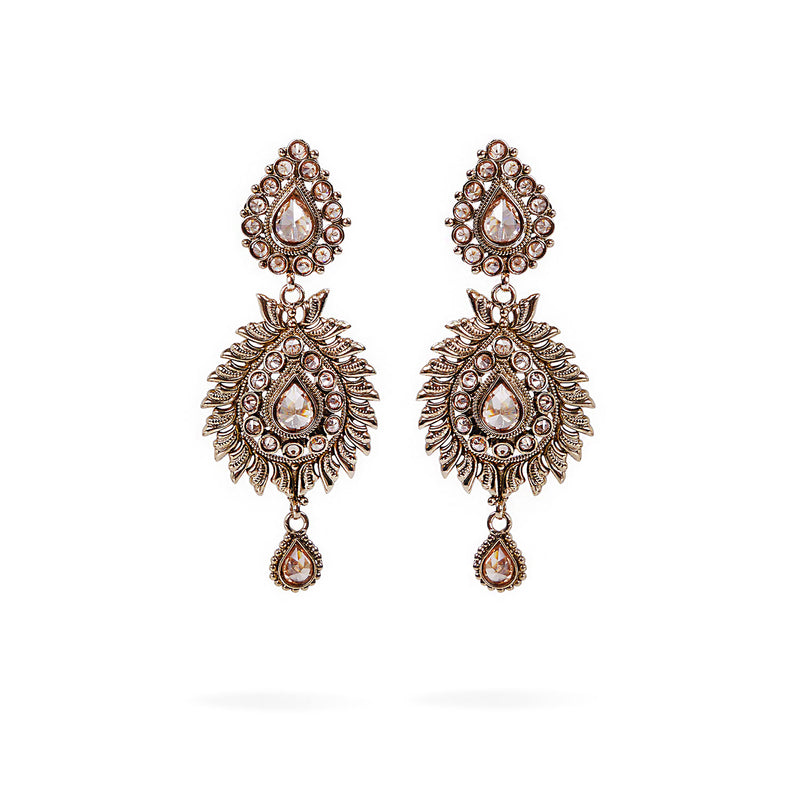Anwesha Long Earrings in Antique Gold