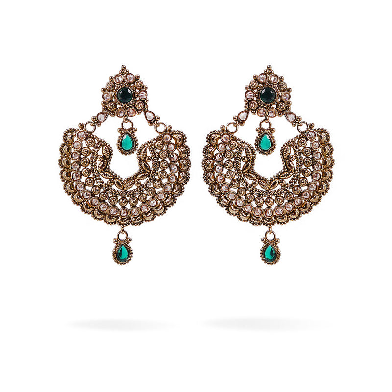 Jiana Chandbali Earrings in Green