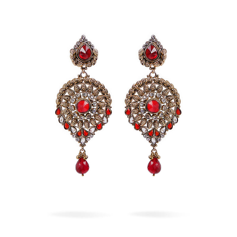 Saranya Long Earrings in Red