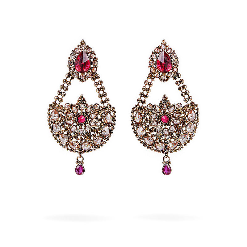 Leisha Chandbali Earrings in Ruby