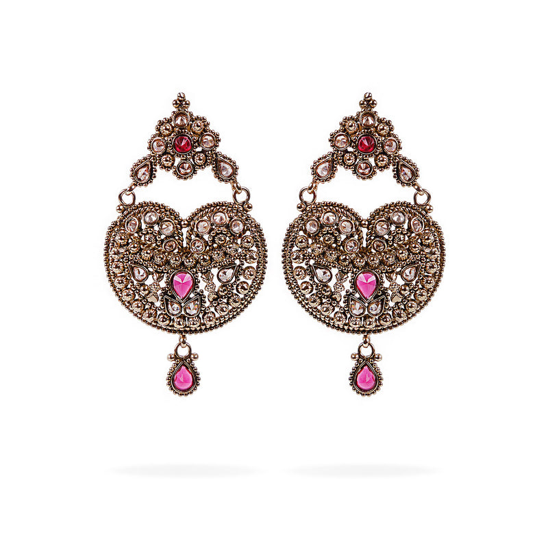 Zeena Chandbali Earrings in Pink