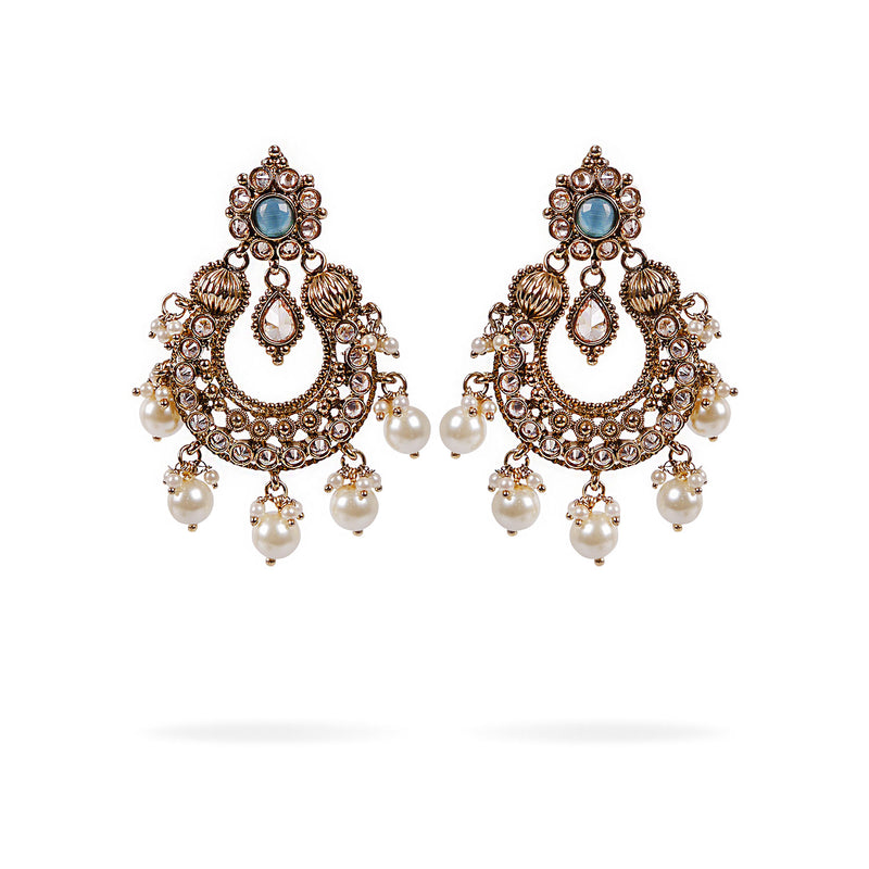 Anvi Chandbali Earrings in Turquoise