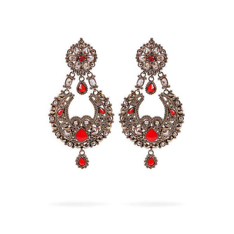 Toran Red Chandbali Earrings
