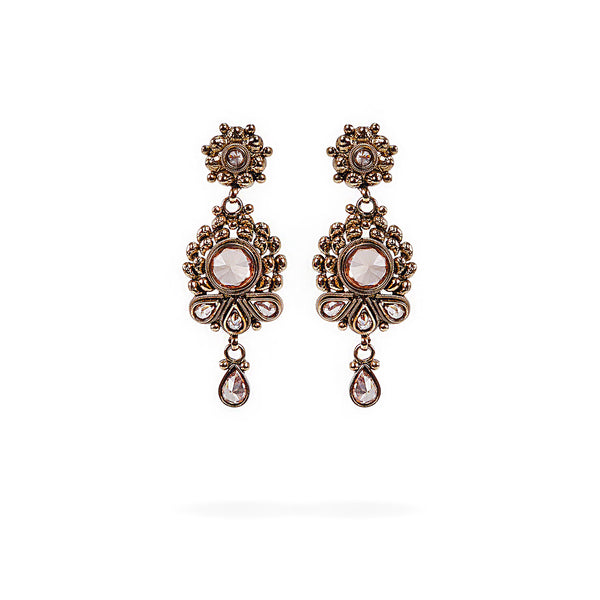 Small Champagne Crystal Rose Earrings