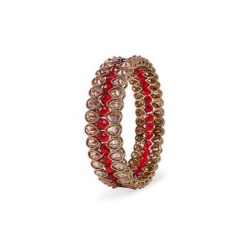 INDIAN BANGLE WITH MAROON CRYSTALS