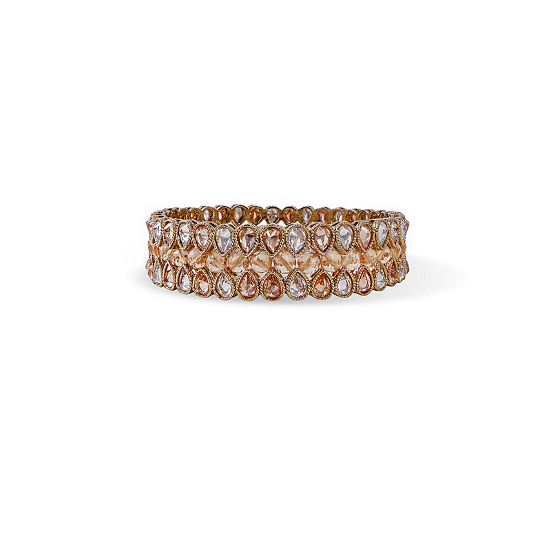 INDIAN BANGLE WITH PEACH CRYSTALS