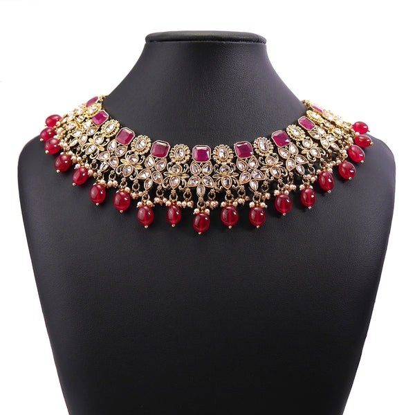 Mahima Ruby Bridal Necklace Set