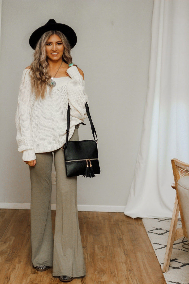 A little bit of flare pants in olive