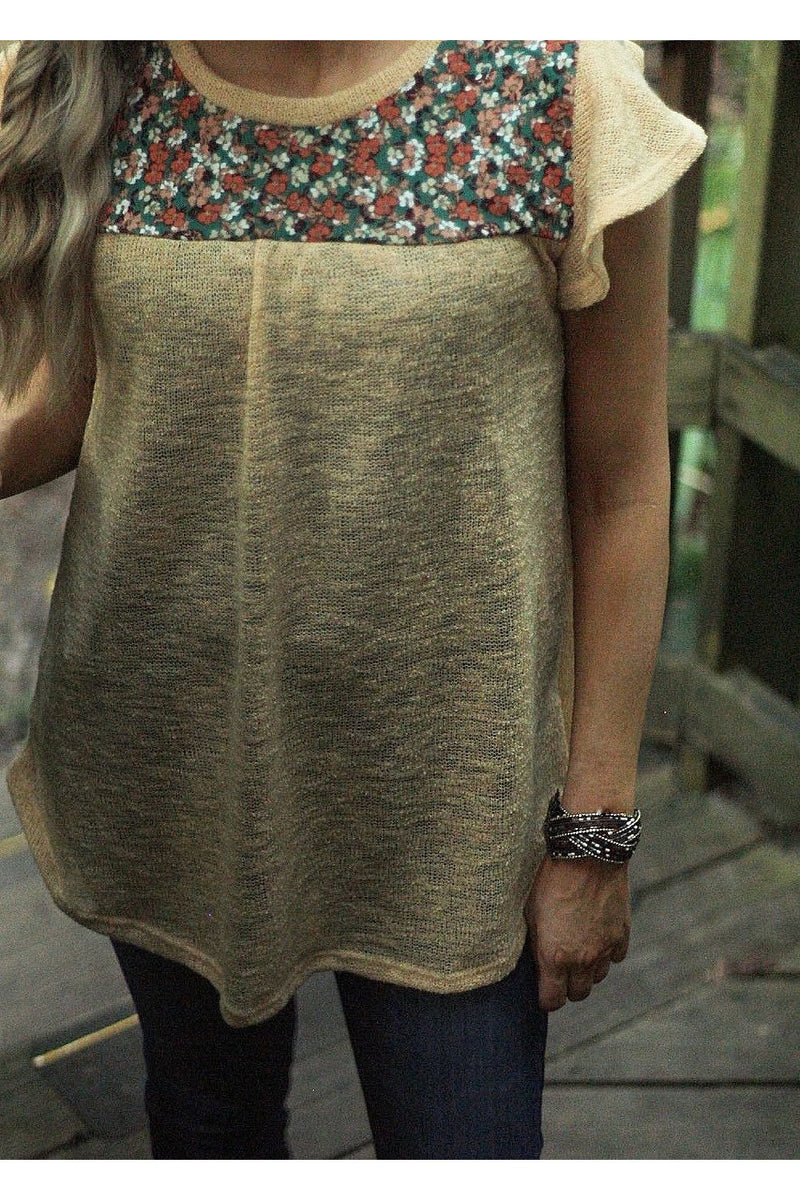 Peace and love flutter sleeve top in apricot