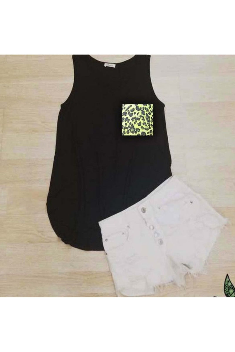 Lounge about neon leopard pocket tank
