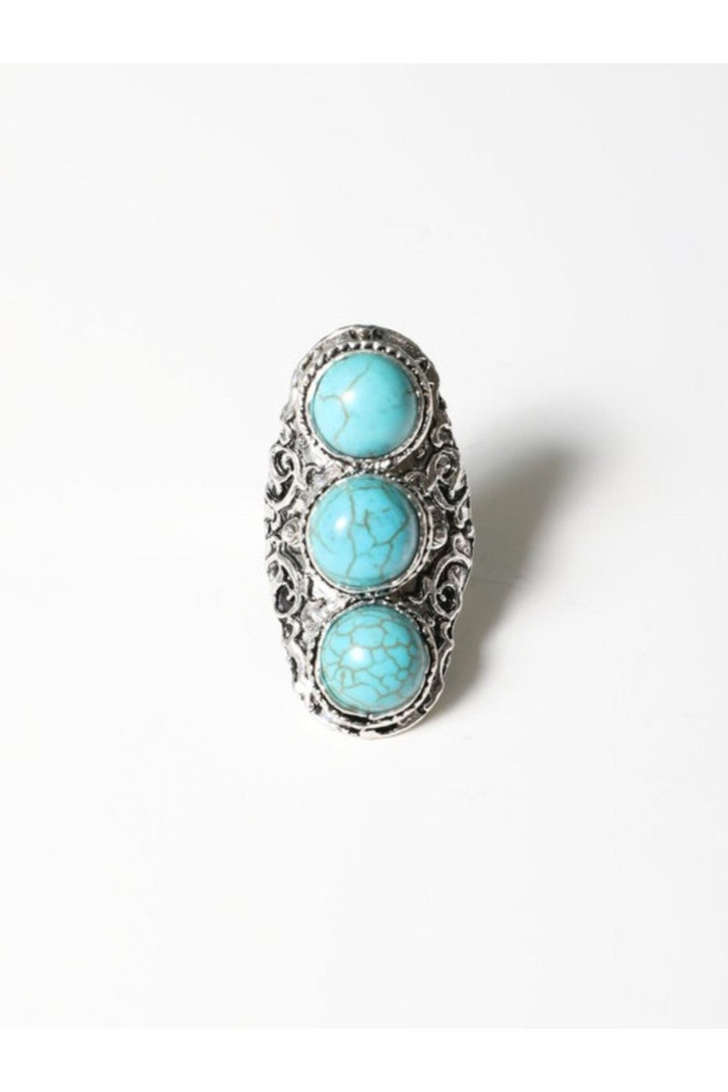 Three tier turquoise ring