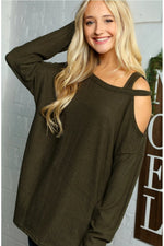 Born to lead strappy shoulder top in olive