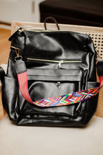 Vegan leather backpack purse in black