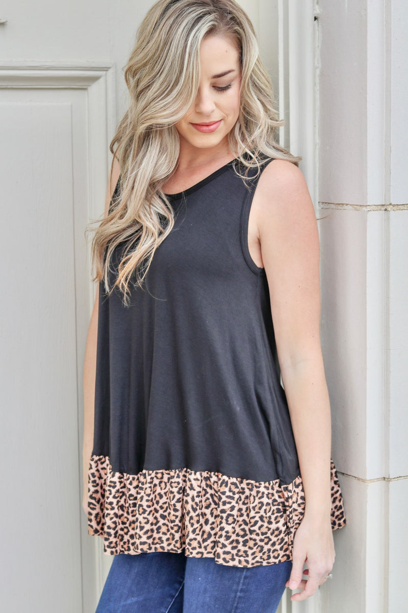 Dance The Night Away Leopard Hem Tank